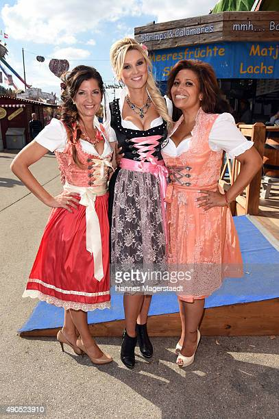Fashion designer Birgit Backeler Katja Kuehne and Patricia Blanco attend the Ladies Lunch at Fisch Baeda during the Oktoberfest 2015 at...