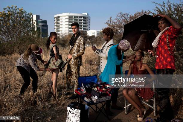 Fashion designer Blacktrash on a location shoot with his models on August 28 2012 in Gaborone Botswana He is one of Botswana's leading designers...