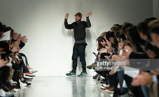 Fashion designer Bobby Abley on the runway after his show during London Fashion Week Men's January 2017 collections at BFC Show Space on January 6...