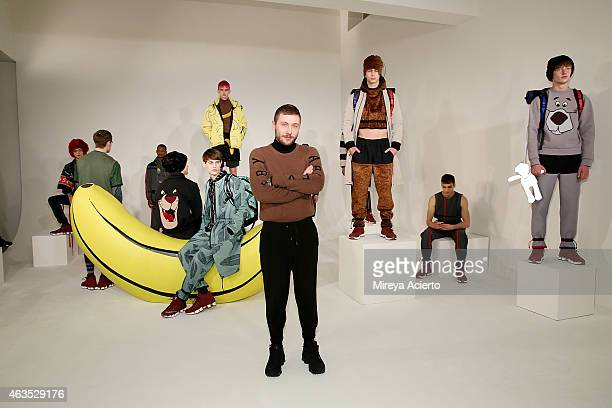 Fashion designer Bobby Abley poses at Bobby Abley presentation during MADE Fashion Week Fall 2015 at Milk Studios on February 15 2015 in New York City
