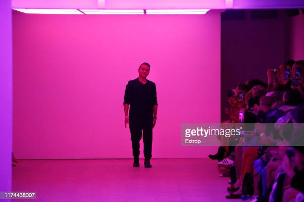 Fashion designer Bora Aksu walks the runway at the BORA AKSU show during London Fashion Week September 2019 at the BFC Show Space on September 13,...