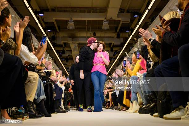Fashion designer Brandon Maxwell and his Mom Pam Woolley acknowledges the audience during the Brandon Maxwell fashion show as part of New York...