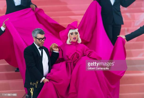 Fashion designer Brandon Maxwell and singer songwriter and actress Lady Gaga are seen arriving to the 2019 Met Gala Celebrating Camp Notes on Fashion...