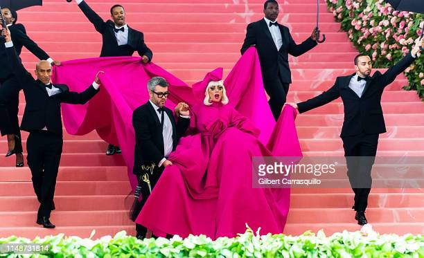 Fashion designer Brandon Maxwell and singer-songwriter and actress Lady Gaga are seen arriving to the 2019 Met Gala Celebrating Camp: Notes on...