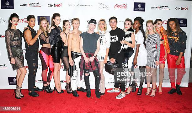 Fashion designer Brian Lichtenberg and models attend the Accelerate4Change charity event presented by Dr Ben Talei Cinemoi on August 29 2015 in...