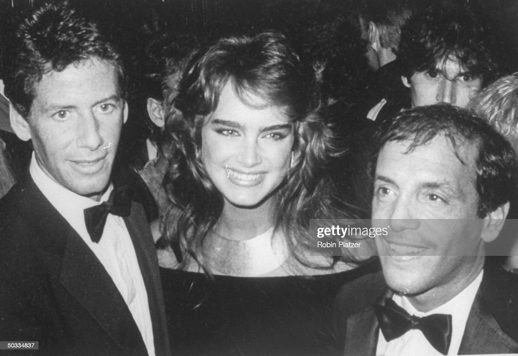 Fashion designer Calvin Klein, model Brooke Shields and nightclub owner Steve Rubell at his world famous disco, Studio 54.