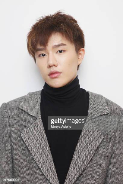 Fashion designer Calvin Luo poses backstage at the Calvin Luo fashion show during New York Fashion Week on February 13 2018 in New York City