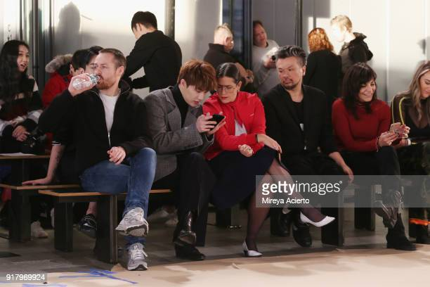 Fashion designer Calvin Luo watches the rehearsal before the Calvin Luo fashion show during New York Fashion Week on February 13 2018 in New York City