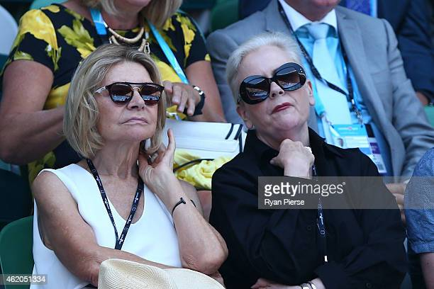 Fashion designer Carla Zampatti attends Rod Laver Arena during day six of the 2015 Australian Open at Melbourne Park on January 24 2015 in Melbourne...