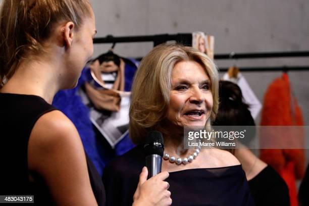 Fashion designer Carla Zampatti is interviewed backstage ahead of the Carla Zampatti show at MercedesBenz Fashion Week Australia 2014 at...