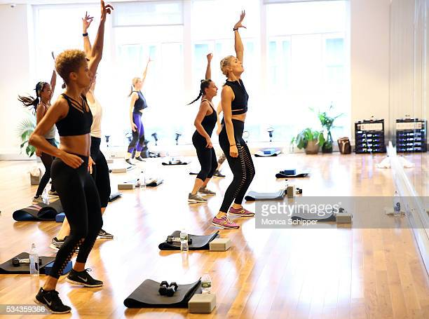 Fashion designer Carly Cushnie of Cushnie et Ochs and fitness instructor Amanda Kloots seen participating in the fitness class as part of the Cushnie...