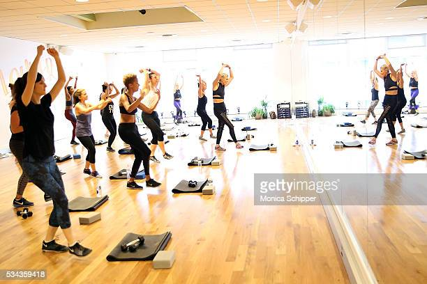 Fashion designer Carly Cushnie of Cushnie et Ochs and fitness instructor Amanda Kloots are seen participating in the fitness class as part of the...
