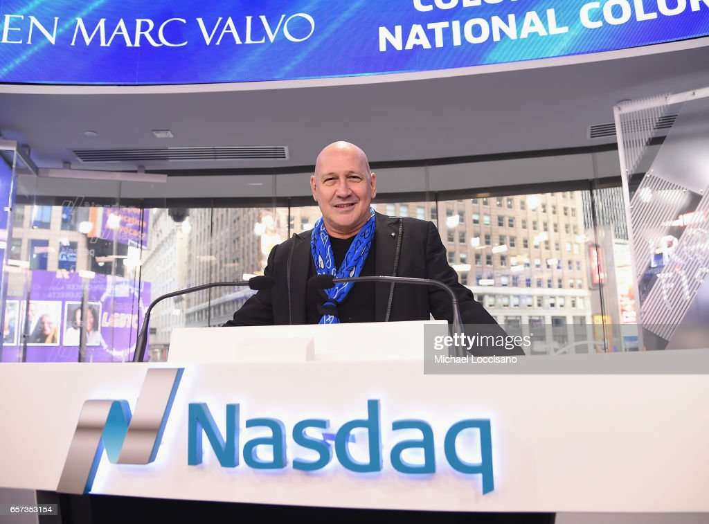 Carmen Marc Valvo And The Colon Cancer Alliance Rings The Nasdaq Stock Market Opening Bell