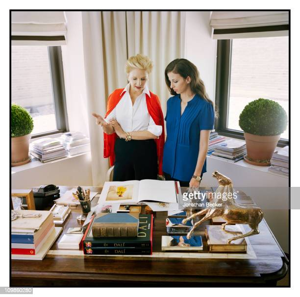 Fashion designer Carolina Herrera and Chiara Clemente are photographed at her atelier for Vogue Espana on May 5, 2010 in New York City. Published...