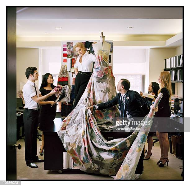 Fashion designer Carolina Herrera and her design team are photographed at her atelier for Vogue Espana on May 5, 2010 in New York City. Published...