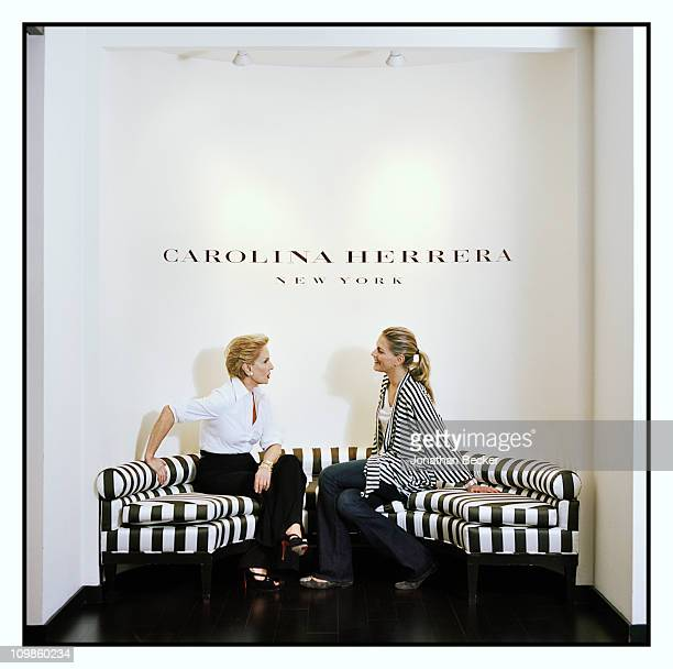 Fashion designer Carolina Herrera and Tatiana Blahnik are photographed at her atelier for Vogue Espana on May 5 2010 in New York City Published image