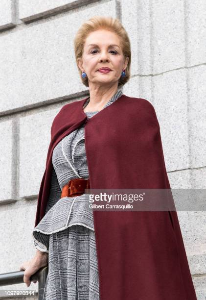Fashion designer Carolina Herrera is seen leaving the Carolina Herrera Fall/Winter 2019 Fashion Show during New York Fashion Week at the New York...