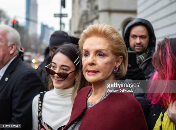 Fashion designer Carolina Herrera leaves her fall 2019 runway show during New York Fashion Week held at New York Historical Society 170 Central Park...