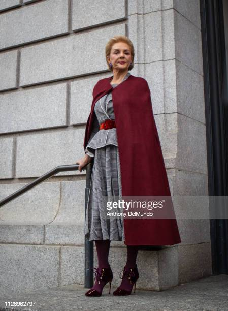 Fashion designer Carolina Herrera poses after leaving her fall 2019 runway show during New York Fashion Week held at New York Historical Society 170...