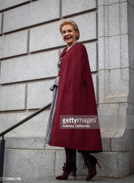 Fashion designer Carolina Herrera poses after leaving her fall 2019 runway show during New York Fashion Week held at New York Historical Society 170...