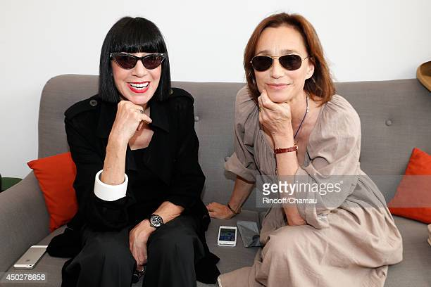 Fashion designer Chantal Thomass and actress Kristin Scott Thomas attend the Men's Final of Roland Garros French Tennis Open 2014 Day 15 on June 8...