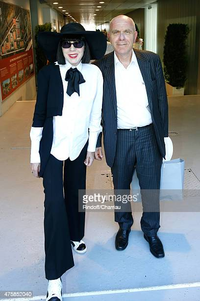 Fashion Designer Chantal Thomass and her husband Michel Fabian attend the 2015 Roland Garros French Tennis Open - Day Twelve, on June 4, 2015 in...