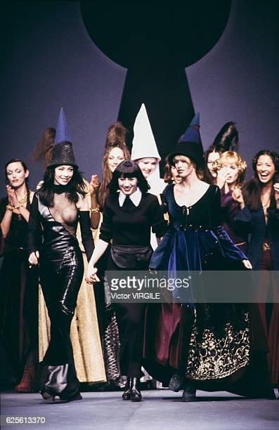 Fashion designer Chantal Thomass walks the runway at the Chantal Thomass Ready to Wear Fall/Winter 19931994 fashion show during the Paris Fashion...