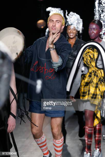 Fashion designer Charles Jeffrey at the Charles Jeffrey Loverboy show during London Fashion Week Men's June 2018 at the BFC Show Space on June 11...