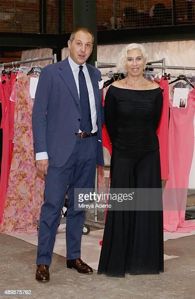 Fashion designer Chiara Boni poses backstage before the Chiara Boni La Petite Robe fashion show during Spring 2016 New York Fashion Week at Art Beam...