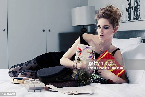 109232007 Fashion designer Chiara Ferragni is photographed for Madame Figaro on February 28 2014 in Paris France Dress earrings and necklace personal...