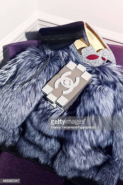109232003 Fashion designer Chiara Ferragni's style inspirations are photographed for Madame Figaro on February 28 2014 in Paris France Coat hat...