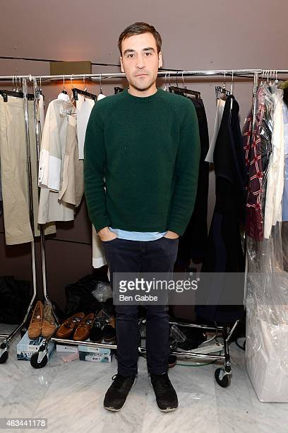 Fashion designer Chris Gelinas backstage at the CG fashion show during MADE Fashion Week Fall 2015 at The Standard on February 14 2015 in New York...