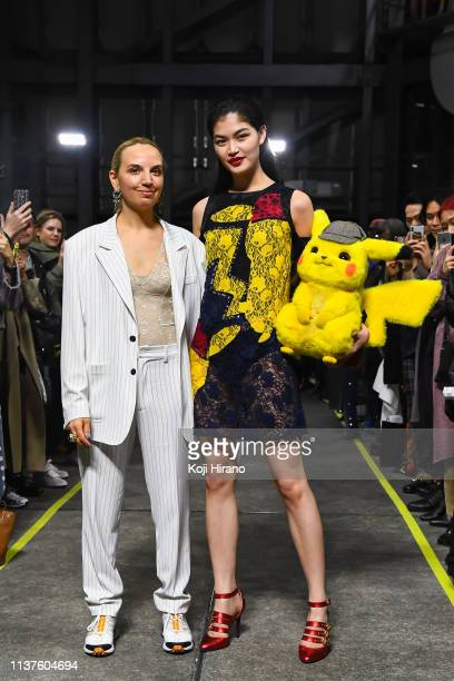 Fashion designer Christelle Kocher and model Rina Fukushi are on the runway during the KOCHÉ show as part of Amazon Fashion Week TOKYO 2019 A/W on...