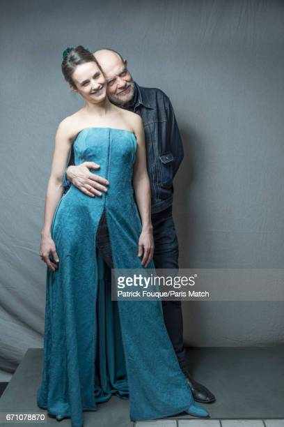 Fashion designer Christian Lacroix with actress Jennifer Decker who wears a silk dress created by the couturier for a production of Musset at the...