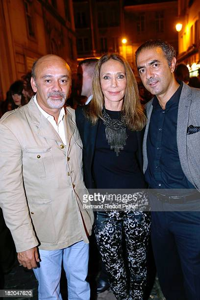 Fashion designer Christian Louboutin with Marisa Berenson and JeanMichel Simonian attend the 'Opium' movie premiere held at Cinema Saint Germain in...