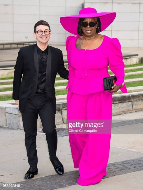 Fashion designer Christian Siriano and actress Whoopi Goldberg are seen arriving to the 2018 CFDA Fashion Awards at Brooklyn Museum on June 4 2018 in...