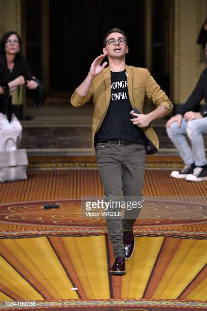 Fashion designer Christian Siriano walks the runway with a tshirt ' vote Cynthia Nixon' at the Christian Siriano Spring/Summer 2019 fashion show...