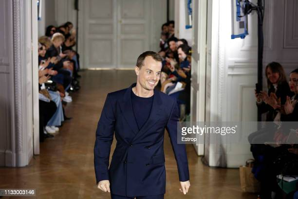 Fashion designer Christian Wijnants at the Christian Wijnants show at Paris Fashion Week Autumn/Winter 2019/20 on March 1, 2019 in Paris, France.