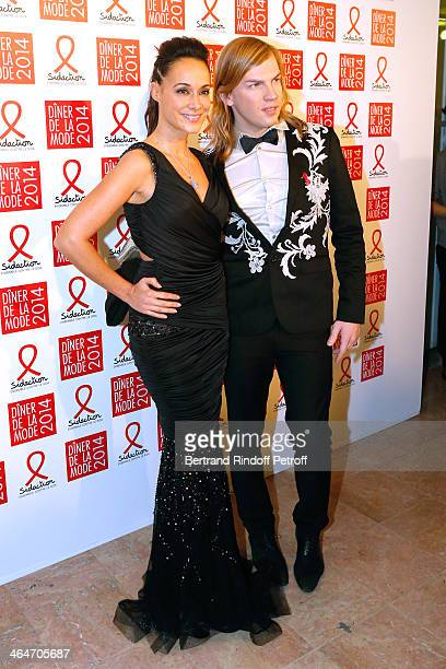 Fashion Designer Christophe Guillarme and Karine Lima attend the Sidaction Gala Dinner 2014 at Pavillon d'Armenonville on January 23, 2014 in Paris,...