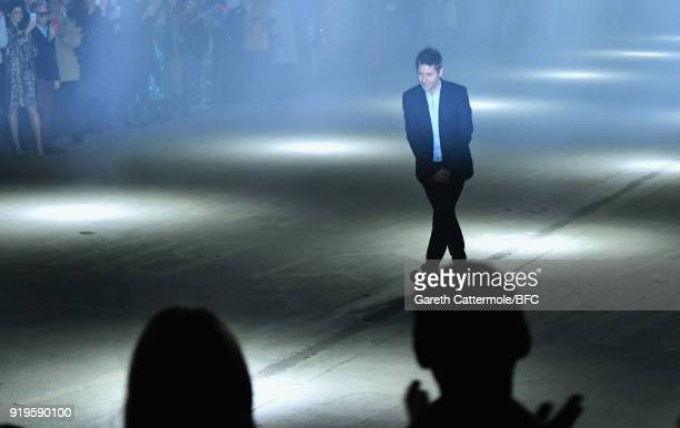 Fashion designer Christopher Bailey walks the runway at the Burberry show during London Fashion Week February 2018 at Dimco Buildings on February 17...