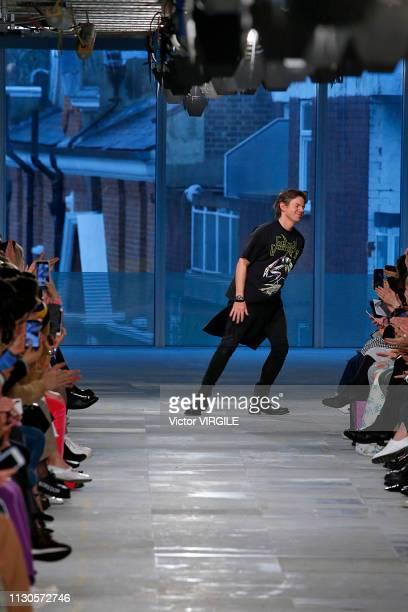 Fashion designer Christopher Kane walks the runway at the Christopher Kane Ready to Wear Fall/Winter 20192020 fashion show during London Fashion Week...