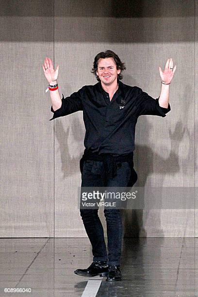 Fashion designer Christopher Kane walks the runway at the Christopher Kane show during London Fashion Week Spring/Summer collections 2016/2017 on...