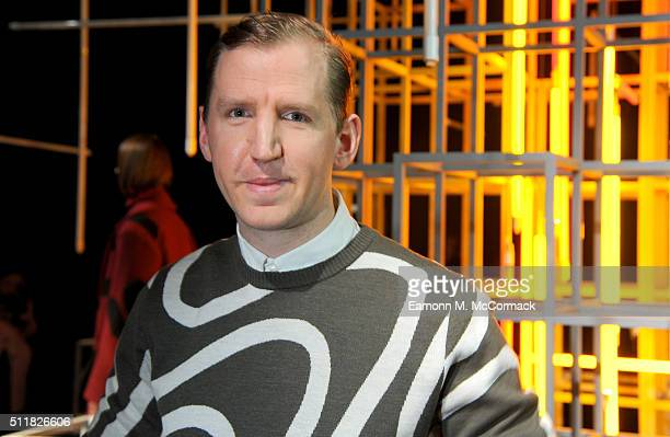 Fashion designer Christopher Raeburn poses at his presentation during London Fashion Week Autumn/Winter 2016/17 at the ICA on February 23 2016 in...