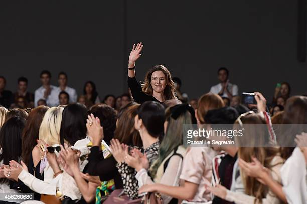 Fashion designer Clare Waight Keller acknowledges the applause of audience following the Chloe show as part of the Paris Fashion Week Womenswear...