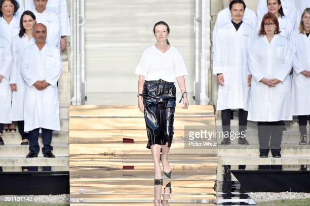 Fashion designer Clare Waight Keller acknowledges the audience during the Givenchy Haute Couture Fall Winter 2018/2019 show as part of Paris Fashion...