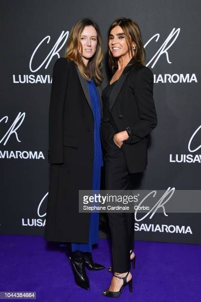 Fashion designer Clare Waight Keller and Carine Roitfeld attends the CR Fashion Book x LuisaViaRoma Photocall as part of the Paris Fashion Week...