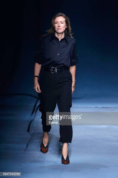 Fashion designer Clare Waight Keller during the Givenchy show as part of the Paris Fashion Week Womenswear Spring/Summer 2019 on September 30 2018 in...