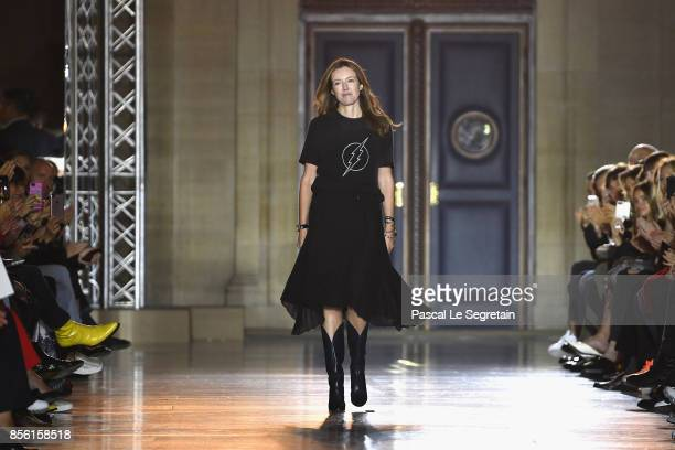Fashion designer Clare Waight Keller is seen on the runway during the Givenchy show as part of the Paris Fashion Week Womenswear Spring/Summer 2018...