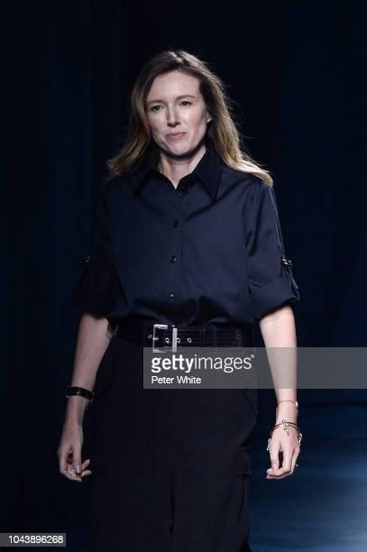 Fashion designer Clare Waight Keller walks the runway during the Givenchy show as part of the Paris Fashion Week Womenswear Spring/Summer 2019 on...