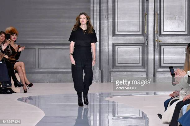 Fashion designer Clare Waight Keller walks the runway during the Chloe Ready to Wear fashion show as part of the Paris Fashion Week Womenswear...